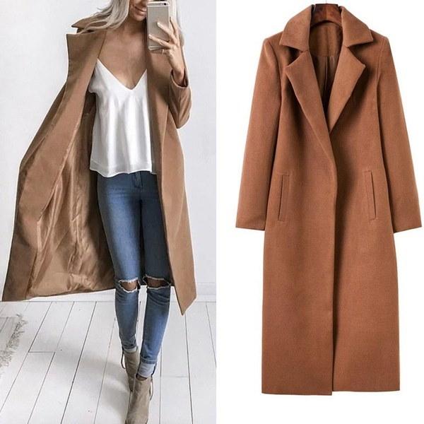 女性のファッションソリッドカラーは、ポケット付き暖かい長いドレープドレンコート