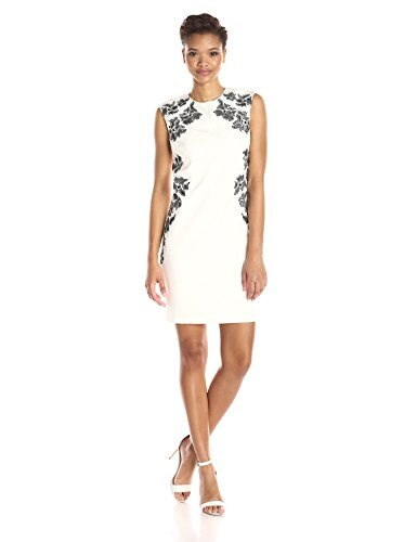 laundry BY SHELLI SEGAL Womens Embroidered Cap Sleeve Sheath Dress, Warm White, 8