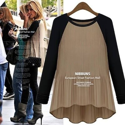 Summer Autumn New Fashion Women s Blouse Khaki/Navy Big yards color matching round collar Long-sleeved T-shirt 8395