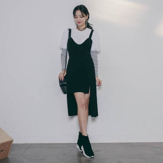 クルロドゥマノンの裾集中オンバルビュスチェワンピース シフォン/レースのワンピース/ 韓国ファッション