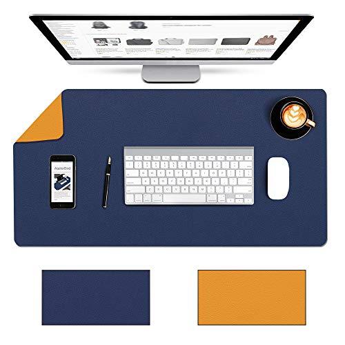 AtailorBird デスクマット PU レザー800x400x2mm 大きいマウスパッド PU レザー マウスパッド 滑り止め/防水パソコン デスクマット レザフェス 合皮ブルー+イエロー800*