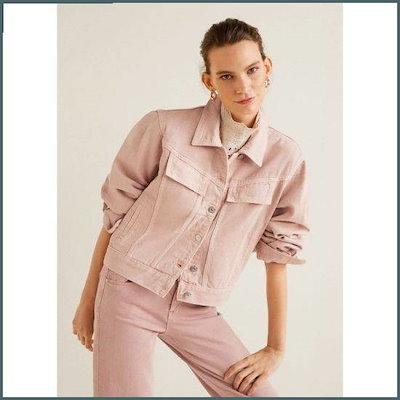 [マンゴー(MANGO)]ピンクのデニムジャケット /テーラードジャケット/ 韓国ファッション