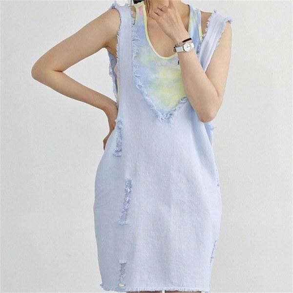 hlr06ファンキー水彩画マンゴーナシワンピースセットサスペンダーワンピースnew 女性ニット/カーディガン/韓国ファッション