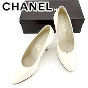 2334536ade6e シャネル CHANEL パンプス シューズ 靴 レディース ♯36 ハイヒール ラウンドトゥ ホワイト 白 レザー 良品 セール