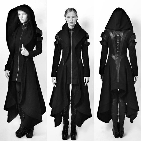 クールな女性コスプレコート不規則なフード付きのレザートップコスプレワンピース暖かいセクシーな黒いコートセーター
