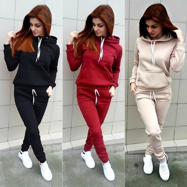 2017秋の女性Tracksuits長袖のフード付きのスエットシャツとパンツの2つのセットSportwearの女性