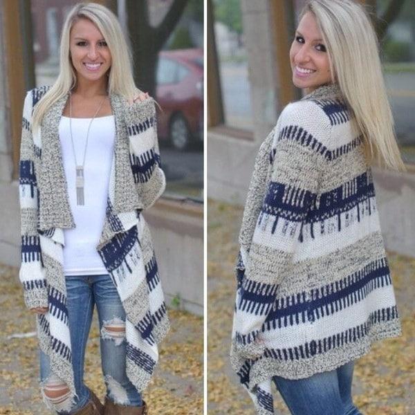 女性のためのファッション女性の秋不規則ニットセーターカラーマッチングカーディガンロングスリーブニット