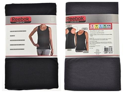 Reebok Ladies 2 Pack Ultra Soft Tank Top (L, Dark Gray/Black)