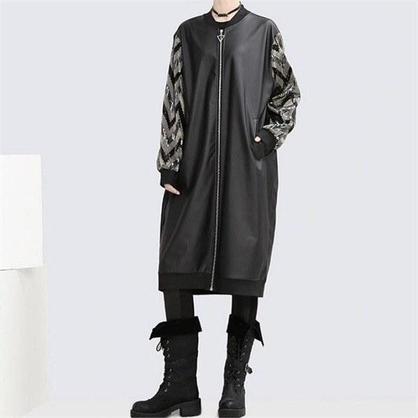 DOU206・ノーブル皮ロングジャケットnew 女性のジャケット / 韓国ファッション/ジャケット/秋冬/レディース/ハーフ/ロング/