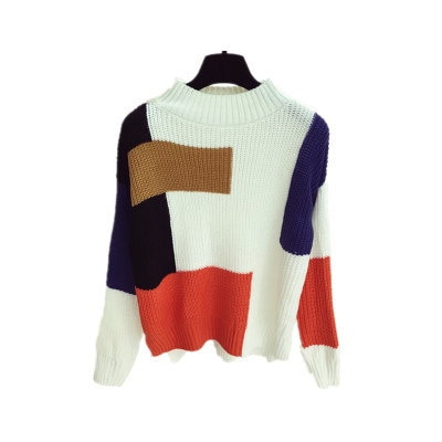 [55555SHOP]セミハイ襟/セーターの女性/ルース/ヘッジ/秋冬/新しいデザイン/韓国風/長袖/ニッティング/ボトムシャツ/粗ライン/複数色