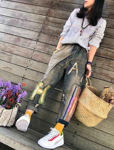 2018新作 韓国ファッション 森ガール系  レディース   ジーンズ   デニム    パンツ   人気商品  WQ18031717