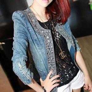 韓国ファッション 春 韓国 Uネック ノーカラー ラウンドネック すっきり ジャケット 細身 長袖 ビジュー付き スタッズ デニム