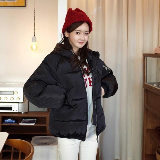 (ミンスショップ単独割引)私のセカンドショットをパディング(ブラック即日発送)korean fashion style