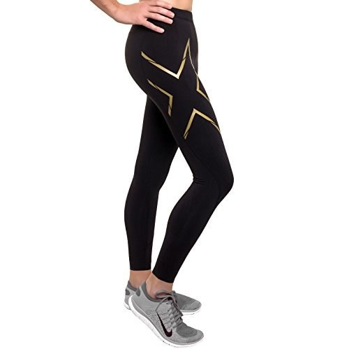 2XU Womens Elite MCS Thermal Compression Cold Weather Athletic Tights (Black/Gold, XL)