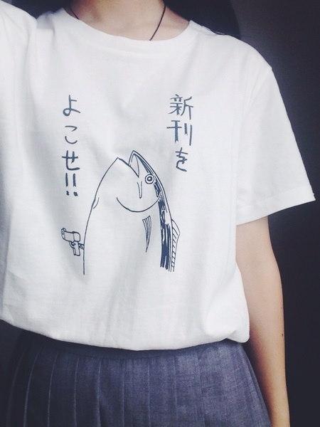 コットン原宿カジュアルガール女性レディース魚パターン日本面白い白Tシャツブラウス服