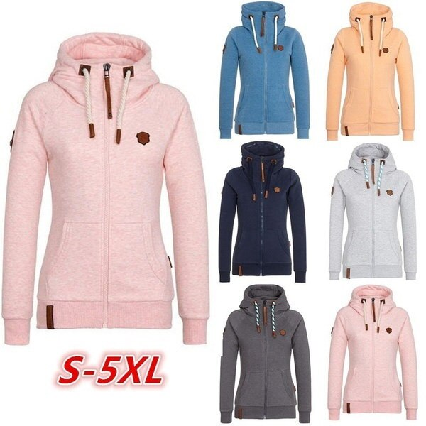 12色女性のファッション秋冬フードドローストリングロングスリーブポケットカジュアルコートサイズS-5X