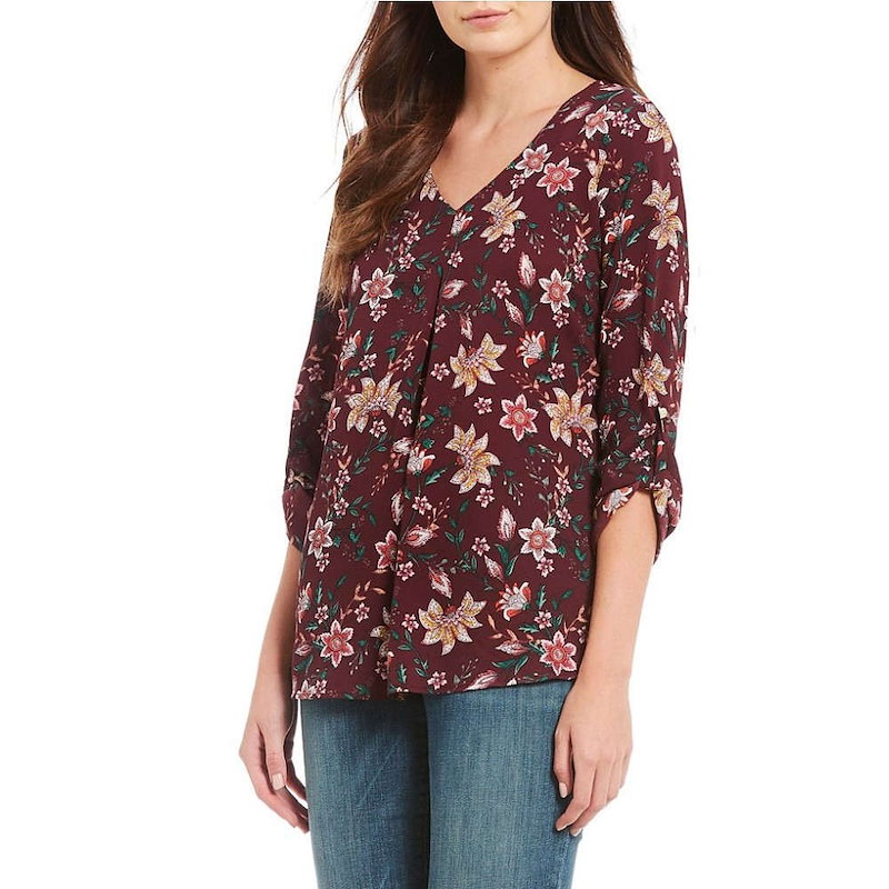 ボボウ レディース トップス ブラウス・シャツ【Bobeau Petites Floral Print V-Neck Roll-Tab Sleeve Top】Burgundy Multi