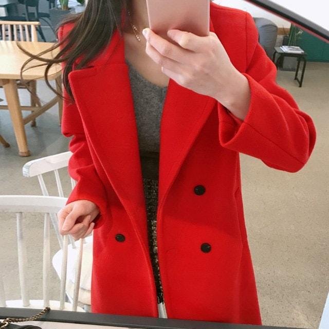 (ぴったり落ちる)ホットテーラードウールコートkorean fashion style