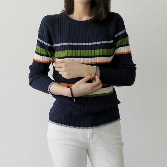 アップタウンホリックペンダントknit2color配色ニットスリムフィットニットラウンドネックゴルジニット ニット/セーター/ニット/韓国ファッション