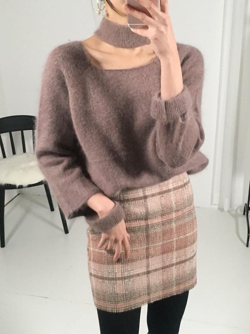 オルトゥンフェミニンスリットチョーカーニットkorea fashion style