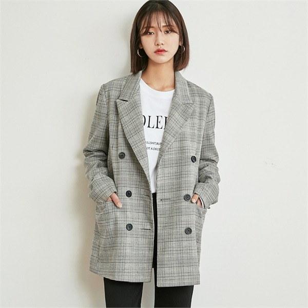 ロコ・シックスmodern check double jacketジャケット 女性のジャケット / 韓国ファッション/ジャケット/秋冬/レディース/ハーフ/ロング/