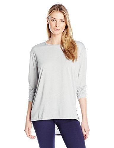 PUMA Womens Print Long SLeeve Top, Light Gray Heather, Medium