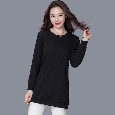 【ビッグサイズの秋のTシャツck078]女性ビッグサイズ長袖ラウンドTシャツオーバフェット春と秋C10長袖Tシャツ