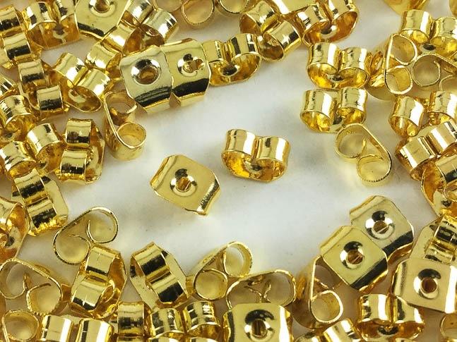 ピアスキャッチ ゴールド 100個 5mmx4mm ホール径1mm ピアス パーツ ピアス金具 アクセサリー (AP0198)
