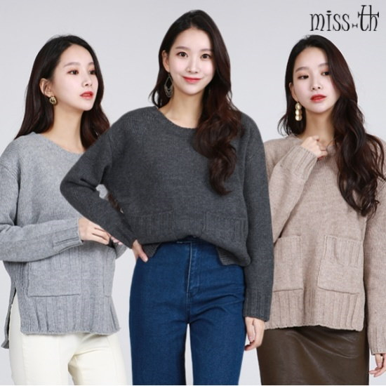 ミスティーに一ポケットラウンドセーター ニット/セーター/ニット/韓国ファッション