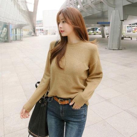 [Tom n Rabbit]クリームラウンドニット基本ニットベーシックデイリーひらきニットkorean fashion style
