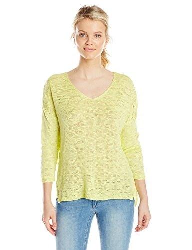 Parkhurst Womens Sophie Sheer Pullover Sweater, Lemongrass, Small