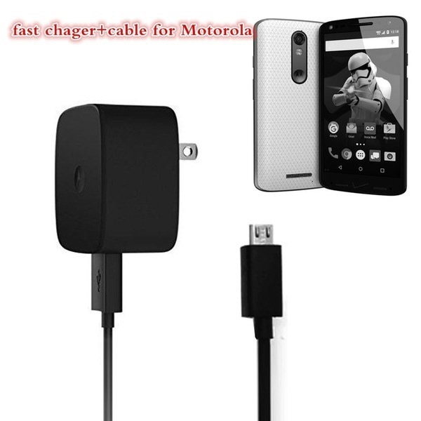 TurboPower Home Wall Fast AC Portable Charger + Cable For Motorola DROID TURBO2 / MOTO X