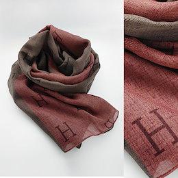 送料無料★Hスカーフ★肌に優しい素材で年中使えるシーフォンマフラー・可愛いカラー配色