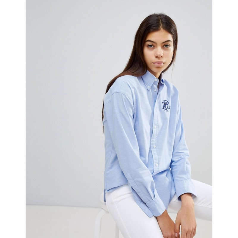 ラルフ ローレン レディース トップス ブラウス・シャツ【Polo Ralph Lauren Boyfriend Shirt Logo Crest】Blue