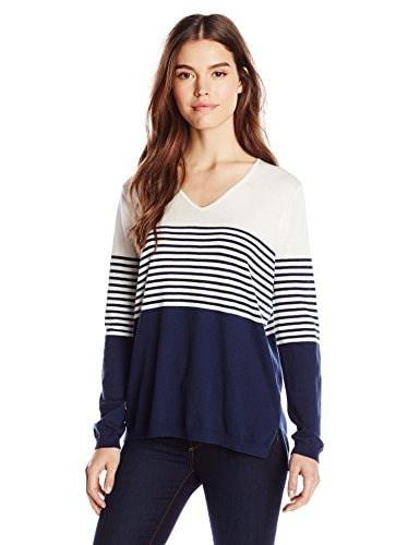 NYDJ Womens Striped Sweater, Bodega Stripes Oxford Blue, Medium