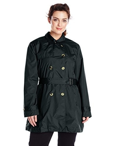 Big Chill Womens Plus-Size Double Breasted Trench Coat with Belt, Black, 2X