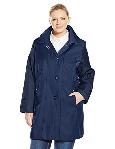 Anne Klein Womens Plus-Size Turn Key Raincoat Plus, Ink, 2X
