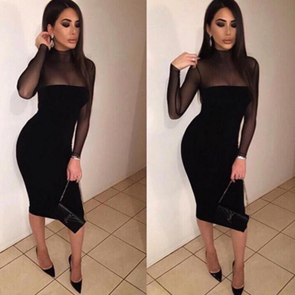 女性セクシーな視点ロングスリーブパッケージヒップドレスレディーススリムフィットパーティーペンシルドレスブラック