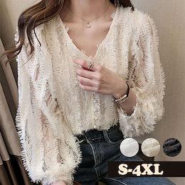 E497  春秋 シャツ ブラウス 長袖 レースレディース 大きいサイズ 可愛い 韓国ファッション カジュアル  集合