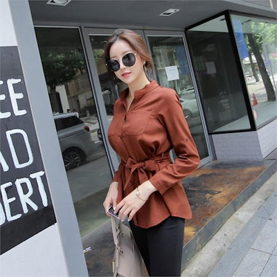 リベルトゥのブラウスチャイナシャツリボンブラウスオフィスルック用のスーツnew 女性ブラウス/ブラウス/その他/韓国ファッション