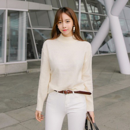 [Tom n Rabbit]シンプル半ポーラニットベーシックニットティーポーラティー、デイリーkorean fashion style