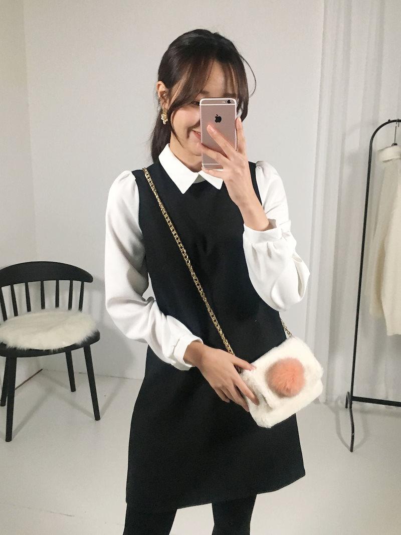 シネマゲストルックカラーウールワンピースkorea fashion style