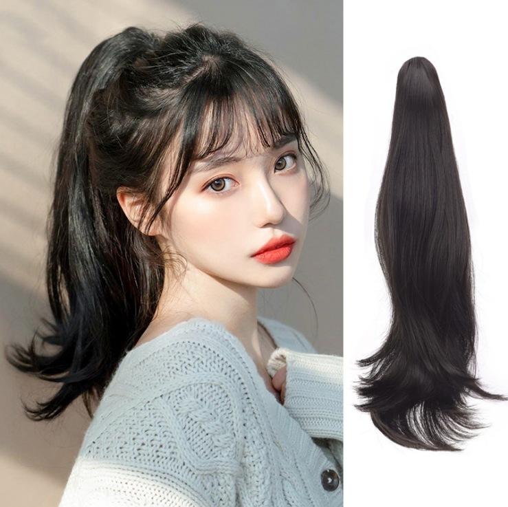 【ロープバインディング】レディースポニーテールロングヘアウィッグ 長い巻き毛、大きな波、自然なマイクロカール ストラップハイポニーテール