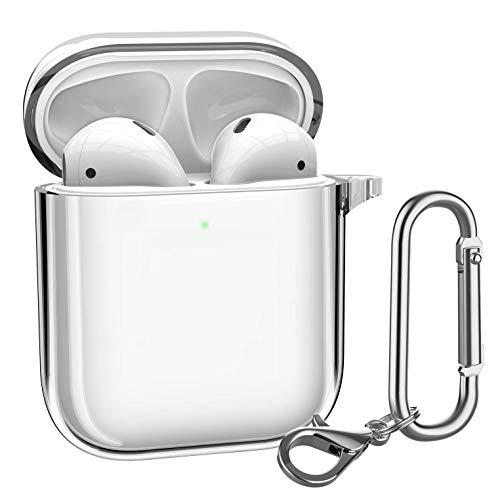 LINSKO AirPodsケース クリスタルクリア 保護用 AirPods TPUカバー Apple AirPods 1/2 ワイヤレス充電ケース カラビナ/キーチェーン付き [フロントLED表示]
