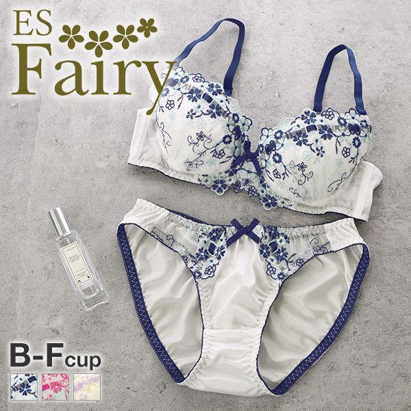 23%OFF (イーエスフェアリー)ES Fairy ロマンティックブーケ ブラジャー ショーツ セット BCDEF プチプラ 大きいサイズ(1771310B)