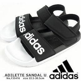 アディダス adidas スポーツサンダル ADILETTE SANDAL U アディレッタサンダル F35416 メンズ レディース サンダル ベルクロ マジックテープ ジュニア 黒 ブラック