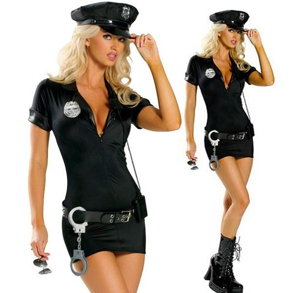 女性の警察制服ファンシーコスプレ衣装ワンピース+帽子+ベルト+手錠ハロウィーンのセクシーな衣装