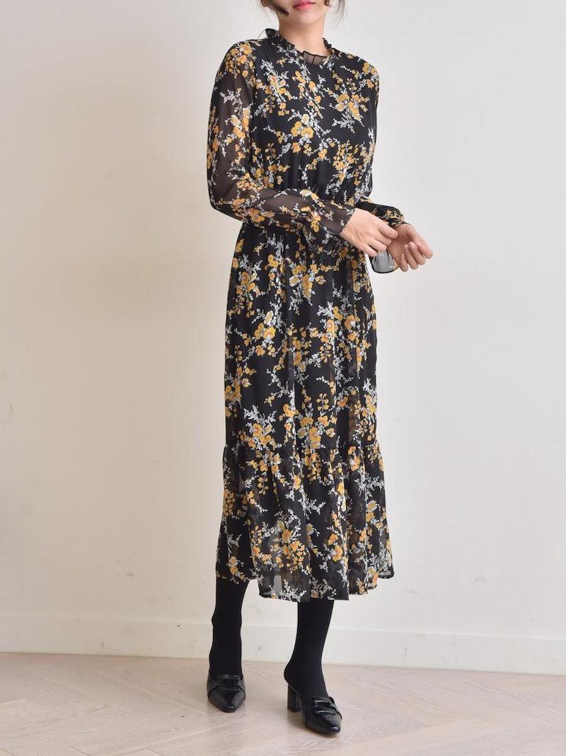 【送料無料】ワンピSALE|シンプルなデザインでありながら、華奢で女性らしい印象に。長袖 ワンピース フレアワンピース 裾フリル 冬 秋 春 ハイウエスト ミモレ丈 シンプル シフォン 花柄 長袖 ベ