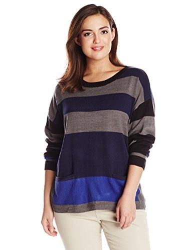 Democracy Womens Plus-Size Striped Crew Neck Sweater with Exposed Back Zipper and Drop Front Pockets, Navy, 2X