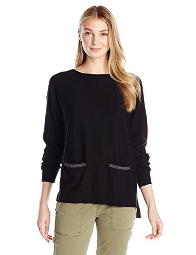 Vince Camuto Womens Long Sleeve Boat Neck Color Block Sweater with Pockets, Rich Black, Medium